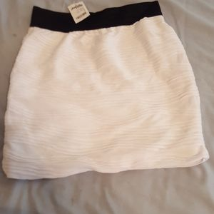 Charlotte Russe white with black waistband mini sk